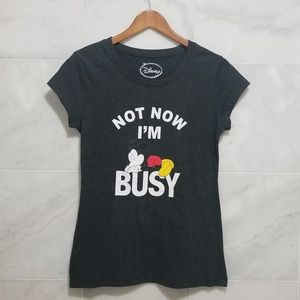 """Disney Micky """"Not Now I'm Busy"""" Grey Tee"""